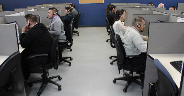 Call Center agents from FCR's nearshore operations in Tijuana, Baja taking calls from customers.