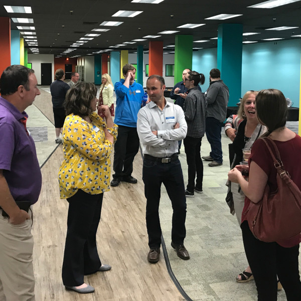 FCR Co-founders John Stadter and Matthew Achak, and FCR President Katheryn Carnahan, greet community and business leaders at the grand opening of FCR's newest call center in Great Falls, MT.